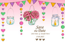 Bröllopinbjudan med garnering av att hänga skorrar och blommar royaltyfri illustrationer