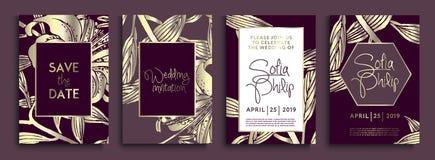 Bröllopinbjudan med guld- blommor och sidor på mörk textur lyxiga guld- bakgrunder, konstnärliga räkningar planlägger, färgrik te royaltyfri illustrationer