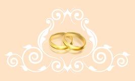 Bröllopinbjudan med guld- cirklar och blom- garnering stock illustrationer