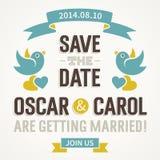 Bröllopinbjudan med gulliga fåglar Royaltyfri Fotografi