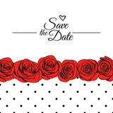 Bröllopinbjudan med röda rosor och den prack modellen Royaltyfri Foto
