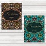 Bröllopinbjudan- och meddelandekort med prydnaden i arabisk stil Arabesquemodell Östlig etnisk prydnad royaltyfri illustrationer