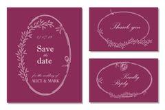 Bröllopinbjudan, rsvp, sparar datumkortdesignen med blom- stock illustrationer
