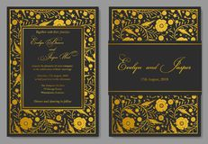 Bröllopinbjudan som är blom- inviterar kortdesign med guld- folie b Royaltyfri Fotografi