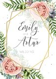 Bröllopinbjudan som är blom- inviterar, sparar Desen för vektorn för datumkortet stock illustrationer