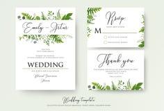 Bröllopinbjudan som är blom- inviterar, tacka dig, modernt kort D för rsvp stock illustrationer