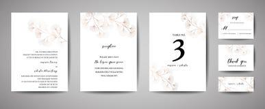Bröllopinbjudan som är blom- inviterar tackar dig, modern kortdesign för rsvp i kopparginkgoen, biloba somsidor förgrena sig royaltyfri illustrationer