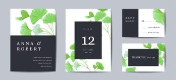 Bröllopinbjudan som är blom- inviterar tackar dig, modern realistisk kortdesign för rsvp med ginkgoen, biloba somsidor förgrena s stock illustrationer