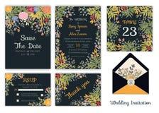 Bröllopinbjudan, sparar datumet, RSVP-kort, tacka dig att card, T royaltyfri illustrationer