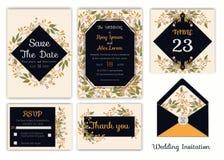 Bröllopinbjudan, sparar datumet, RSVP-kort, tacka dig att card, T vektor illustrationer