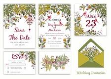 Bröllopinbjudan, sparar datumet, RSVP-kort, tacka dig att card, T stock illustrationer