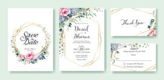 Bröllopinbjudan, sparar datumet, tacka dig, mall för rsvpkortdesign Drottningen av Sverige steg blomman, sidor, den suckulenta vä stock illustrationer