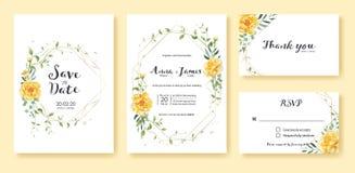 Bröllopinbjudan, sparar datumet, tacka dig, mall för rsvpkortdesign vektor Den gula blomman, försilvrar dollaren, olivgröna sidor stock illustrationer