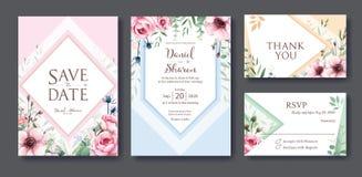 Bröllopinbjudan, sparar datumet, tacka dig, mall för rsvpkortdesign vektor Drottningen av Sverige steg blomman, sidor, anemonplan stock illustrationer