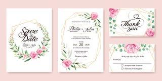 Bröllopinbjudan, sparar datumet, tacka dig, rsvpkortdesign vektor illustrationer