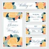 Bröllopinbjudan, tacka dig att card, sparar datumet royaltyfri illustrationer