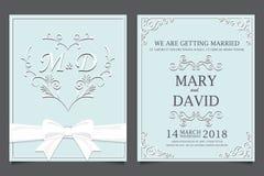 Bröllopinbjudankort, förälskelse och valentin Royaltyfria Bilder
