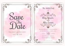 Bröllopinbjudankort, gåvaetikettskort vektor illustrationer