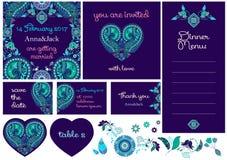 Bröllopinbjudankort i Paisley stil vektor illustrationer