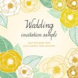 Bröllopinbjudankort med abstrakt blom- bakgrund stock illustrationer