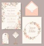 Bröllopinbjudankort med blommamallar royaltyfri illustrationer