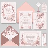 Bröllopinbjudankort med blommamallar vektor illustrationer