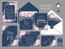 Bröllopinbjudankort med blommamallar stock illustrationer