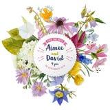 Bröllopinbjudankort med blommor royaltyfri illustrationer