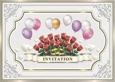 Bröllopinbjudankort med blommor och ballonger Fotografering för Bildbyråer