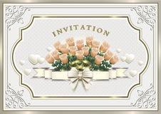 Bröllopinbjudankort med blommor och cirklar Arkivbilder