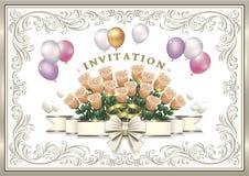 Bröllopinbjudankort med blommor och cirklar Fotografering för Bildbyråer