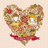 Bröllopinbjudankort med blommor och fåglar. Royaltyfri Bild