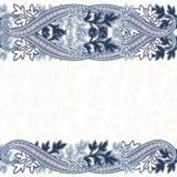 Bröllopinbjudankort med den etniska blommapaisley prydnaden stock illustrationer