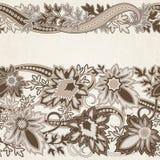 Bröllopinbjudankort med den etniska blommapaisley prydnaden royaltyfri illustrationer
