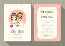 Bröllopinbjudankort med den gulliga brudgum- och brudtecknade filmen stock illustrationer