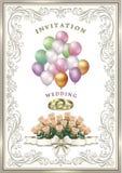 Bröllopinbjudankort med en bukett av delikata rosor Fotografering för Bildbyråer