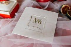 Bröllopinbjudankort med guld- bokstäver closeup Arkivbilder