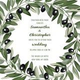 Bröllopinbjudankort med Olive Brunches Royaltyfri Foto