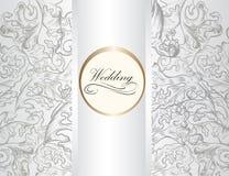 Bröllopinbjudankort med prydnaden i vit färg Royaltyfria Bilder