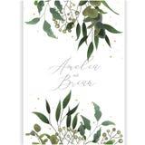 Bröllopinbjudankort med räddning för baner för eukalyptusblad vertikal datumet Royaltyfri Foto