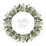 Bröllopinbjudankort med räddning för eukalyptusbladbaner datumet Arkivbilder