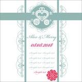 Bröllopinbjudankort med vagnen Arkivbild