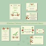 Bröllopinbjudankort med vattenfärgbeståndsdelar Arkivbild