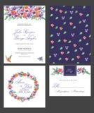 Bröllopinbjudankort med vattenfärgblommor Fotografering för Bildbyråer