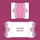 Bröllopinbjudankortet med snör åt gränser royaltyfri illustrationer