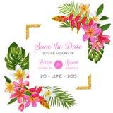 Bröllopinbjudanmall med blommor Tropisk blom- räddning datumkortet Romantisk design för exotisk blomma för att hälsa vektor illustrationer