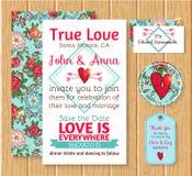 Bröllopinbjudanräddning datumkorten stock illustrationer