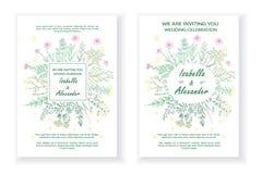 Bröllopinbjudanramar med örter och lösa blommor arkivbild