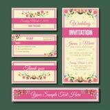 Bröllopinbjudanuppsättning Arkivbilder