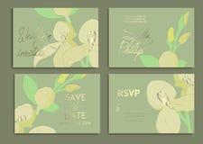 Bröllopinbjudanuppsättning: blommor orkidér, sidor, vattenfärg, vektor Texturera för inpackning, textiltapeter, ytbehandla design vektor illustrationer